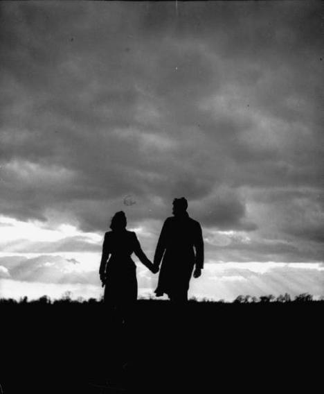 Silhouette of a man and a woman